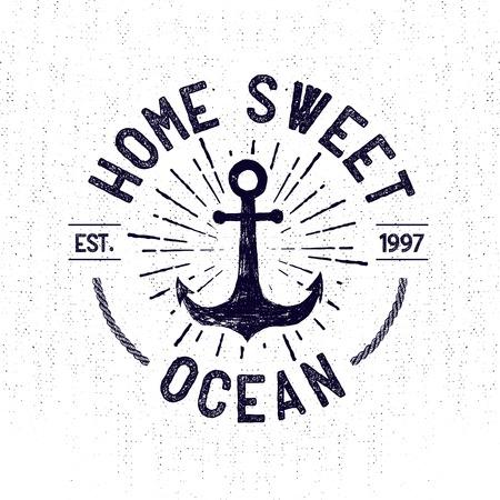 Ilustración de Hand drawn monochrome vintage sailor label, clothing apparel print, retro badge vector illustration with anchor, starburst, and lettering. - Imagen libre de derechos