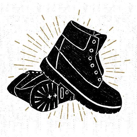 Ilustración de Hand drawn textured boots vector illustration. - Imagen libre de derechos