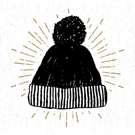 Illustration for Hand drawn icon with textured winter cap vector illustration. - Royalty Free Image