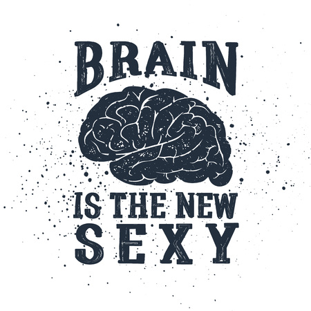 Ilustración de Hand drawn inspirational label with textured brain vector illustration and Brain is the new sexy lettering. - Imagen libre de derechos