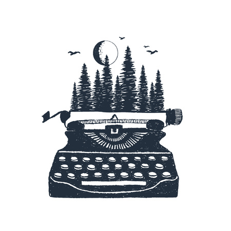 Illustration for Hand drawn retro typewriter and pine forest textured vector illustrations. - Royalty Free Image