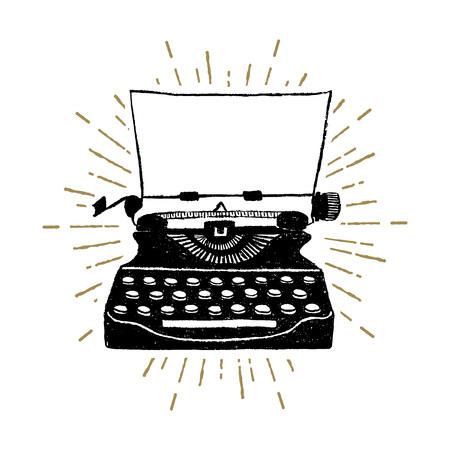 Ilustración de Hand drawn retro typewriter textured vector illustration. - Imagen libre de derechos