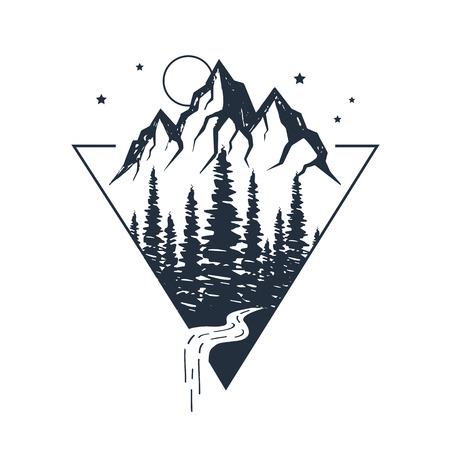 Illustration pour Hand drawn inspirational label with pine trees and mountains textured vector illustrations. - image libre de droit