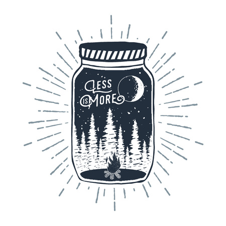 Illustration pour Hand drawn inspirational label with pine trees and bonfire in a jar textured vector illustration and Less is more lettering. - image libre de droit