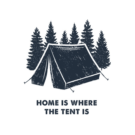 Illustration pour Hand drawn inspirational label with pine trees and camping tent textured vector illustrations and Home is where the tent is lettering. - image libre de droit