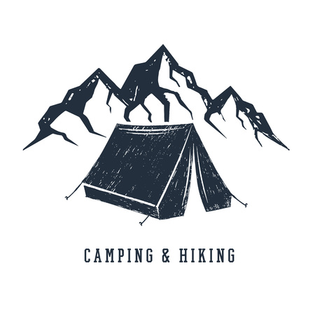 Illustration pour Hand drawn inspirational label with mountains and camping tent textured vector illustrations and Camping and hiking lettering. - image libre de droit