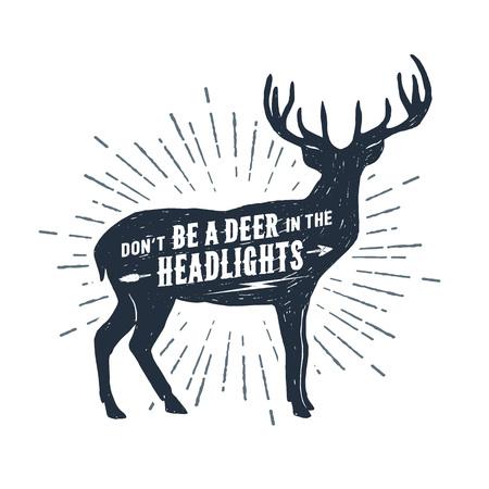 Ilustración de Hand drawn deer textured vector illustration and Don't be a deer in the headlights lettering. - Imagen libre de derechos