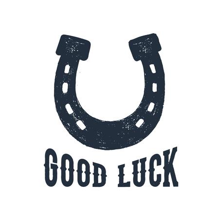 Illustration pour Hand drawn horseshoe textured vector illustration and Good luck inspirational lettering. - image libre de droit