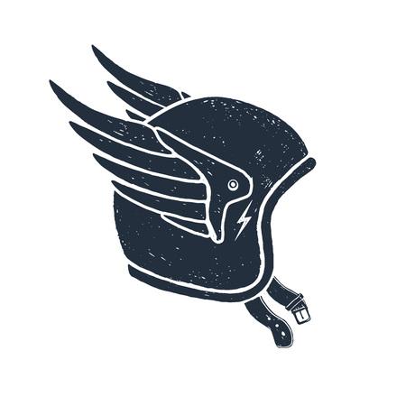 Ilustración de Hand drawn racing helmet textured vector illustration. - Imagen libre de derechos