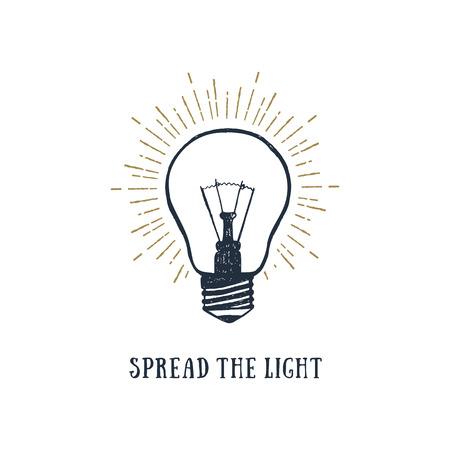 Ilustración de Hand drawn inspirational label with light bulb textured vector illustration and Spread the light lettering. - Imagen libre de derechos