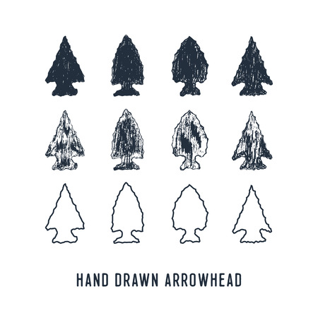 Ilustración de Hand drawn textured arrowheads vector illustrations set. - Imagen libre de derechos