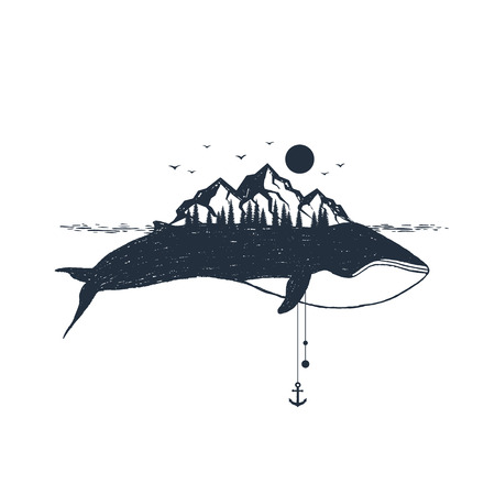 Illustration pour Hand drawn nautical badge with whale and mountains textured vector illustrations. - image libre de droit