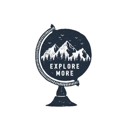 Ilustración de Hand drawn travel badge with mountains in a globe textured vector illustration and Explore more inspirational lettering. - Imagen libre de derechos