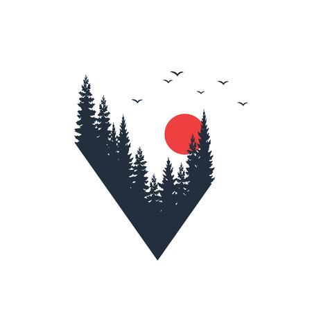 Ilustración de Hand drawn travel badge with fir trees textured vector illustration. - Imagen libre de derechos