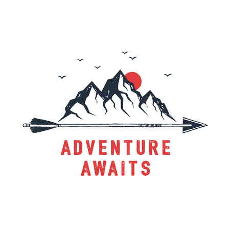 Ilustración de Hand drawn travel badge with mountains textured vector illustration and Adventure awaits inspirational lettering. - Imagen libre de derechos