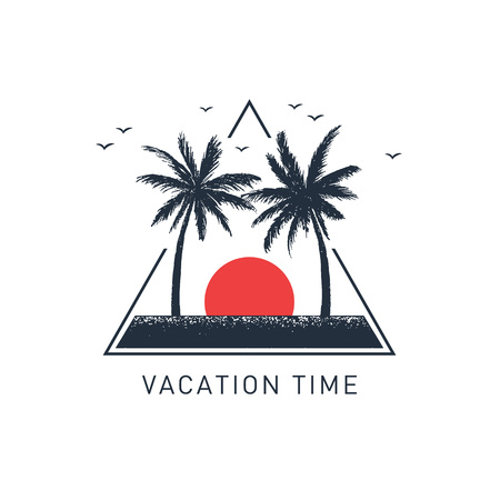 Illustration pour Hand drawn travel badge with palm trees textured vector illustration and Vacation time inspirational lettering. - image libre de droit