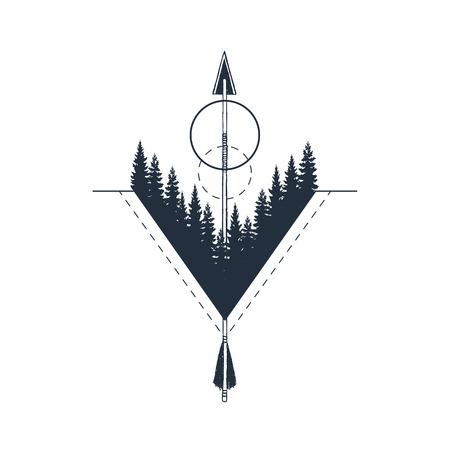 Ilustración de Hand drawn geometric badge with fir trees textured vector illustration. - Imagen libre de derechos