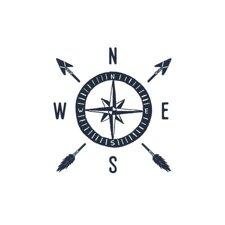Ilustración de Hand drawn travel badge with compass rose textured vector illustration. - Imagen libre de derechos