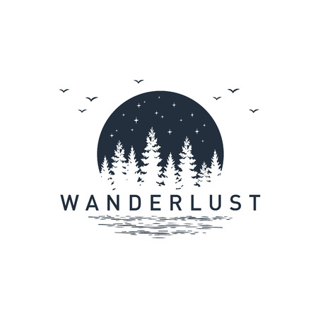 Illustration pour Hand drawn travel badge with pine trees textured vector illustration and Wanderlust inspirational lettering. - image libre de droit