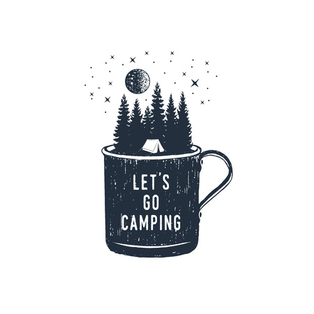 Ilustración de Hand drawn travel badge with fir trees in a metal mug textured vector illustration and Let's go camping inspirational lettering. - Imagen libre de derechos