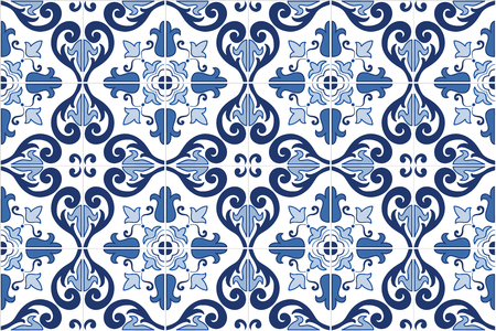 Illustration pour Traditional ornate portuguese tiles azulejos. Vintage pattern. Abstract background. Vector hand drawn illustration, eps10. - image libre de droit