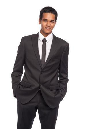 Foto de Teenager in impressive smart suit. Ready for job interview. Studio shot on white background. - Imagen libre de derechos