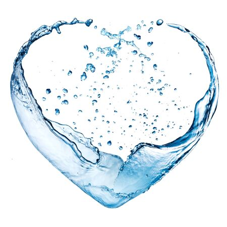 Photo for Valentine heart made of blue water splash isolated on white background - Royalty Free Image