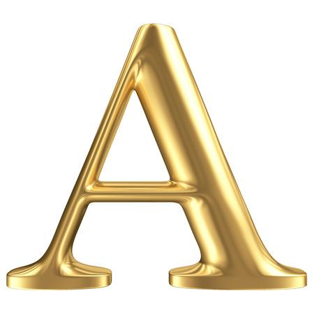 Photo pour Golden matt letter A, jewellery font collection - image libre de droit