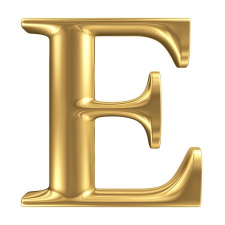 Photo pour Golden matt letter E, jewellery font collection - image libre de droit