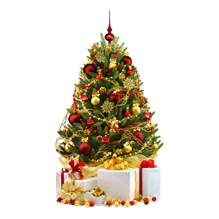 Photo for Decorated Christmas tree on white background. - Royalty Free Image
