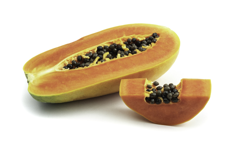 Photo for Ripe papaya is a healthy fruit. Properties as medicine. Use as a diuretic, diuretic to help heal laxative. The name is scientific : Carica papaya. isolated on white background and clipping path. - Royalty Free Image