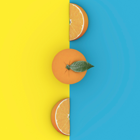 Photo for Creative Concept fruit : Outstanding Grapefruit on blue and yellow background. Minimal food concept. From top view - Royalty Free Image