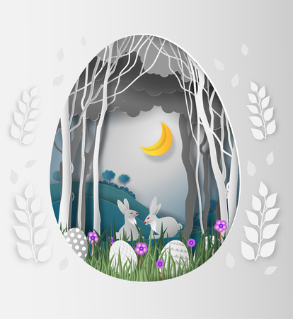 Illustration pour Creative ideas of Easter day, frame Egg shape of paper cut with rabbit and leaves in the forest at night and the moon. paper art and digital craft style. vector Illustration - image libre de droit