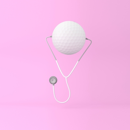 Creative idea layout golf concept with stethoscope on pink pastel background. minimal concept idea about of Medical & Health Care and exercise.