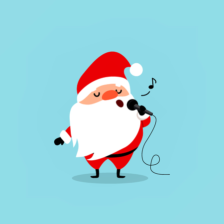 Santa Claus with a microphone sings karaoke. A funny Christmas character. Element from the collection. Vector illustration isolated on light blue background.