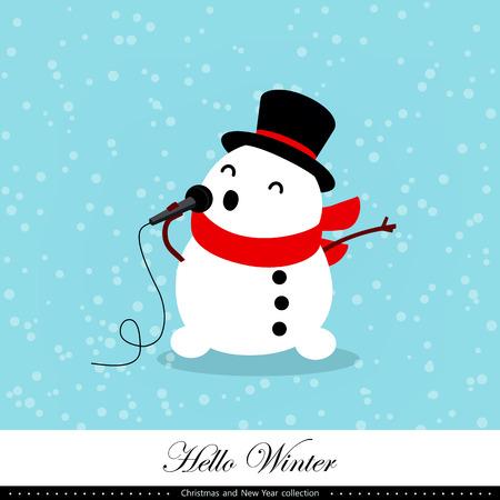 Playful snowman illustration.