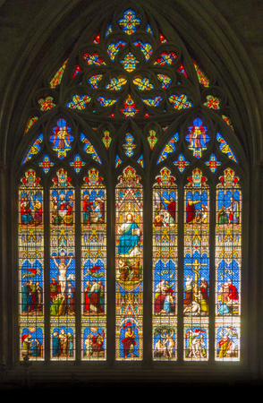 Photo for Stained glass window in Chichester Cathedral, Sussex, England, UK - Royalty Free Image
