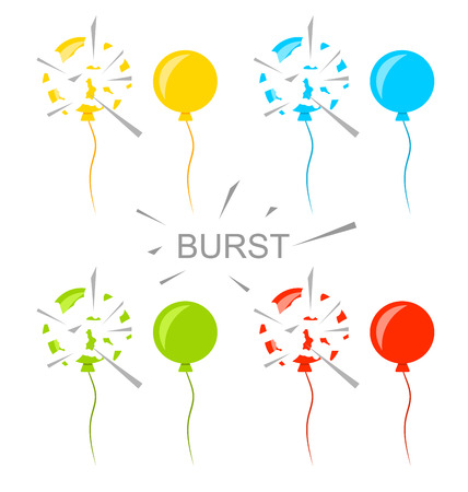 Illustration pour Illustration Set Colorful Popped Balloons Isolated on White Background - image libre de droit