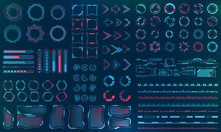 Illustration pour Set HUD Interface Elements - Lines, Circles, Pointers, Frames, Bar Download for Web Applications - image libre de droit