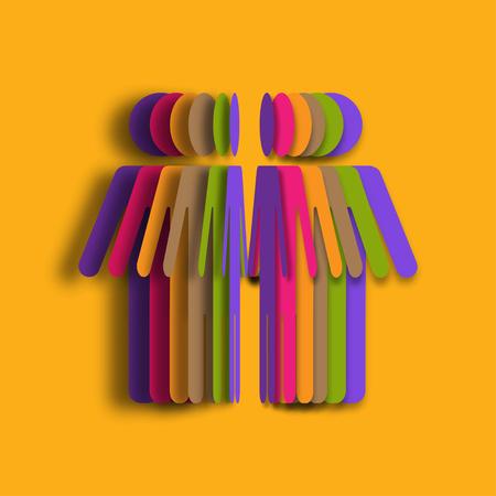 Ilustración de Colorful Paper art of people. 3d illustration paper people. Vector illustration - Imagen libre de derechos