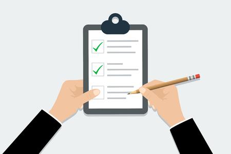 Illustration pour Checklist - vector illustration. Hand holding clipboard checklist with pencil in trendy flat design - image libre de droit