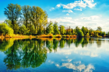 Photo pour Tranquil landscape at a lake, with the vibrant sky, white clouds and the trees reflected symmetrically in the clean blue water - image libre de droit
