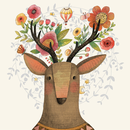 Photo for Incredible deer with awesome flowers. Lovely spring concept design in vector. Sweet deer and flowers made in watercolor technique - Royalty Free Image