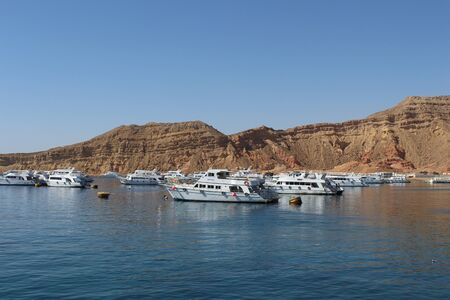Boats in the Red Sea in Sharm El Sheikh