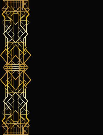Ilustración de Abstract geometric border in art deco style - Imagen libre de derechos