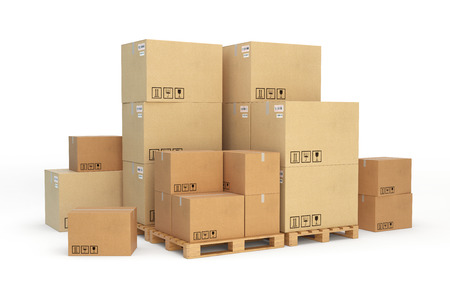 Photo pour Cardboard boxes on a pallet. 3d illustration. - image libre de droit