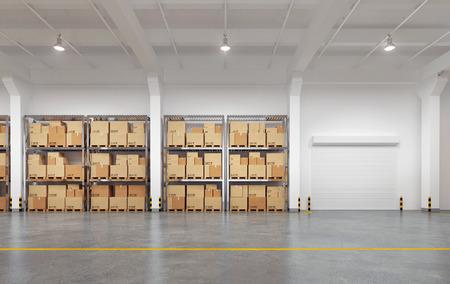 Foto de Warehouse with many racks and boxes. 3d Illustration. - Imagen libre de derechos