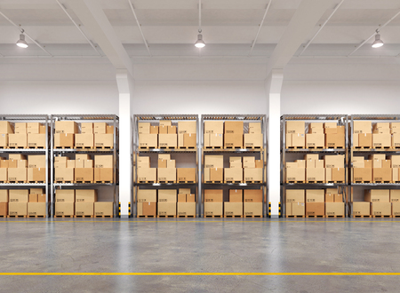 Photo for Warehouse with many racks and boxes. 3d Illustration. - Royalty Free Image
