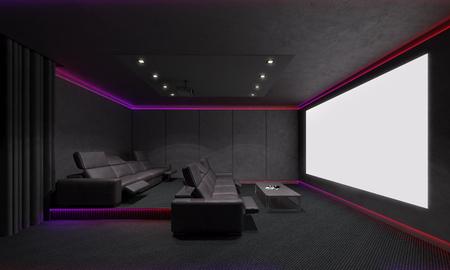 Foto de Home Theater Interior. 3d illustration. - Imagen libre de derechos