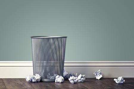 Foto de office garbage near metal basket - Imagen libre de derechos